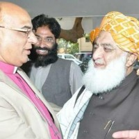 JUI leader Maulana Fazlur Rehman welcomes Bishop Nazir Alam on joining the party