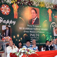 Prime Minister, Nawaz Sharif celebrated Diwali-Holi with Hindu community.